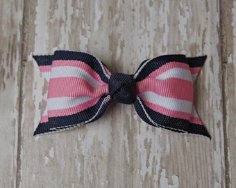 Pink and Navy Bow Tuxedo Style Toddler Hair Bow 3 Inch Alligator Clip Baby Hairbow Pink and Navy Baby Bow Preppy Baby Bow