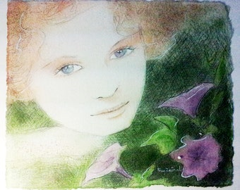 Painting : Watercolored graphite drawing   Petunia's portrait   30x30cm- 600gr Arches paper paper