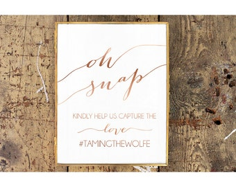 Rose Gold Printable Instagram Wedding Sign | Social Media Wedding Sign | Custom Hashtag