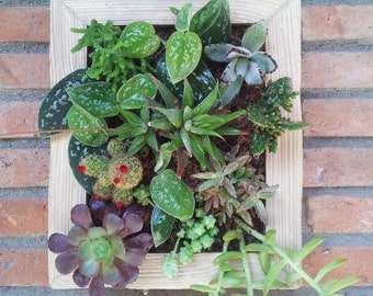 Box/vertical garden and small table Center for fresh flowers
