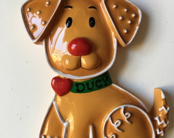 Personalized Gingerbread Dog Puppy Christmas Ornament- Pet's 1st Christmas