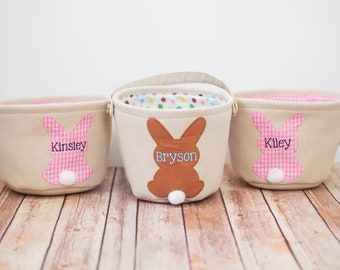 Personalized Easter Bunny Baskets - (Pink, Blue and Brown Bunnies for Boys and Girls) Name Canvas Basket, Easter Egg Hunt Basket