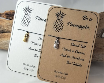 Be a Pineapple Wish Charm Bracelet, Anklet, Friendship, Luck, IVF Gift - Choice of Colours - 26 colours