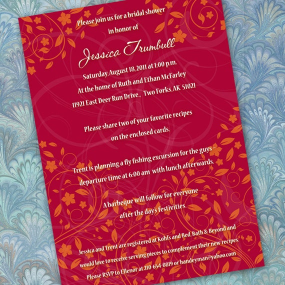 bridal shower invitations, recipe cards, red bridal shower invitations, red birthday invitation, birthday party invitations