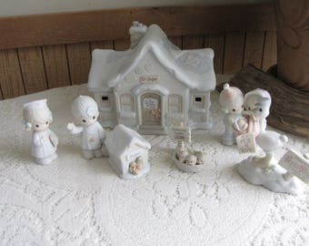 Precious Moments Sugar Town Doctor Office Set Complete Seven (7) Piece Trumpet Symbol 1994 Retired