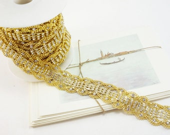 Gold Rhinestone Wave Trim, Rhinestone Chain, Wedding Rhinestone Trim, Clear Crystal, Rhinestone Applique, 25mm ( 1 Feet Qty)