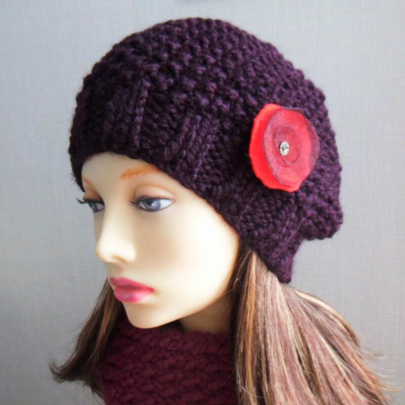CHUNKY BERET PATTERN Womens Slouchy Hat Knitting Pattern Chunky Hat ...