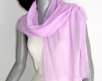 Orchid Pink Silk Chiffon Scarf Hand Dyed  Light Pink Wrap, Hand Hemmed, Light Fuchsia, One of a Kink Artisan Handmade, Artinsilk