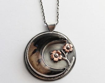 Petrified Palm wood Crescent Moon and Cherry Blossom Pendant, Statement Pendant, Metalsmithed Bold Pendants, Boho Jewelry, Hapa Girls