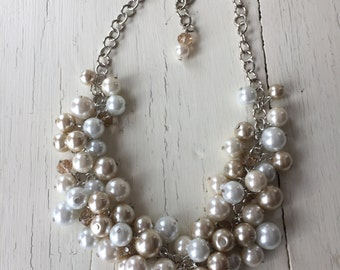 Ivory white and champagne simple chunky pearl necklace,  Bridesmaid gift, cluster pearl necklace,  statement necklace, cluster bridesmaid
