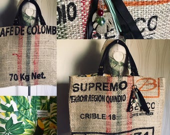 "Large bag in Burlap ""Colombia"""