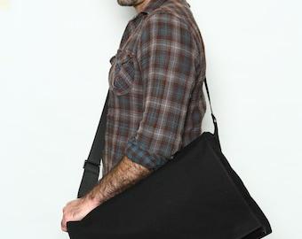 Schwarz, Messenger Bag, Laptop Tasche, XL, Vegan Bag - Dundee