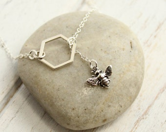 Sterling Silver Bee and Honeycomb Lariat Necklace