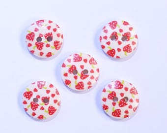 15mm - set of 10 2238 Strawberry printed wooden button