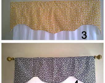 Grey Valance, Window Valance gray,  Kitchen Window Valance, Window Treatments, up to 50 inches wide x16 inches long
