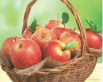 2 napkins basket of apples 25x25cm (271)