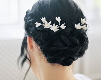 "Bridal headpiece-Bridal hair pins- Flower headpiece- Clay floral- Headpiece- White headpiece- Hair pins- TWRA ""HYACINTH"" hair pins"