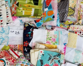 Lot 24 Quilting Scraps Large, Legal Flat Rate Envelope stuffed with cotton designer fabrics. Grab Bag for Patchwork, Small sewing projects