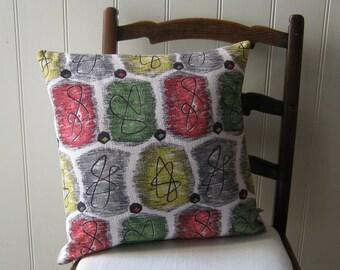 Mid Century Mod Vintage Pillow 50s Barkcloth Atomic Cushion