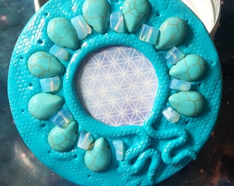 Sacred geometry turquoise crystal box