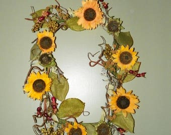 Wispy Square Sunflower Wreath 22 x 19 Large Sunflowers, Fall Leaves and Berries, Perfect for your Door, Living Room, Bedroom, Kitchen, Bath