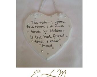 Mother/Mam/Mum heart plaque