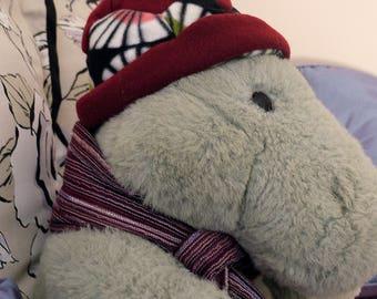 Fleece hat, red, starburst