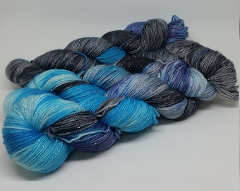 Sparkle Sock - Midnight Blue - Superwash Merino + Nylon + Stellina - 75/20/5
