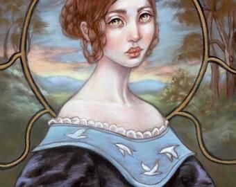 Jane Eyre literature pop surrealism portrait Victorian hand embellished print