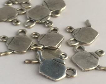 Teapot charm silver 10 PCs