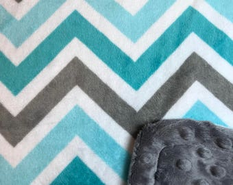 Minky Blanket Teal, Grey, and Turquoise Chevron Minky with Grey Dimple Dot Minky Backing - Perfect Size a Toddler or Child