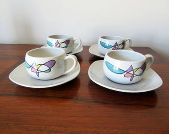 Mid Century Modern Metlox California Freeform Cups and Saucers Set of Four