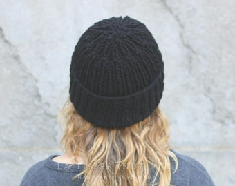Knit hat women | Knit womens hats | Black knit hat | Canadian sheep's wool //The Ribbed Beanie in Black