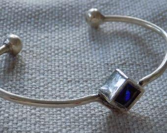 Vintage bracelet,royal blue cuff,silver open cuff,crystal inlay cuff,cuff bracelet,designer bracelet,jewelry