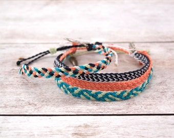 Wax Cord Braided Bracelet, Braided Anklet, Flat Braid, Surfer Bracelet or Anklet, Waterproof Waxed Cord Boho Anklet, Stacking Bracelets