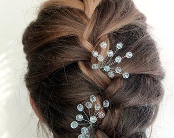 Bridal hair pins set of 2 Set hairpin Crystal hair pin Wedding hair pin Wedding hair clip Crystal hair comb Bridal set pin Crystal bobby pin