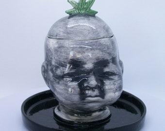 Ceramic Doll Head Candy Dish