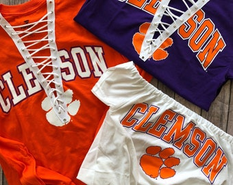 Clemson Long Sleeve Lace Up Tee / Graduation Gift / Clemson Tigers / Tailgate Clothing / Game Day Clothes / Football Game Shirt