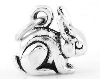 Sterling Silver Small Rabbit Bunny Charm (3d Charm)