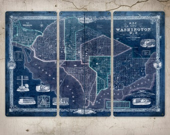 """Old Map of Washington DC METAL triptych 36x24"""" FREE Shipping"""