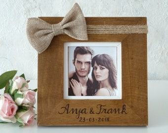 Wedding Photo Frame Wooden Picture Frame Rustic Personalized Picture Frame with Burlap Bw, Wood Frame, Wedding Gift for Couple