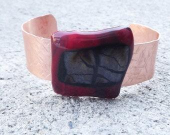 Copper Fused Glass Bracelet Cuff/ Red and Black Cuff/ Fashion Jewelry