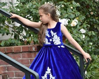 Royal Blue Flower Girl Dress Velvet Dress Vintage Dress Girl Party Dress Applique Dress Holiday Christmas Dress Vintage Velvet Dress Pattern