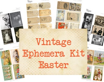 Printable Vintage Ephemera Easter Collage Sheet Instant Download