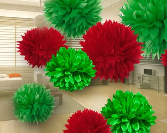 Tissue Paper Pom Poms - Set of 9 - Christmas Decor//New Year Decor//Decorations
