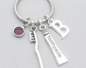 Toothbrush & toothpaste keyring keychain | personalised dentist gift | dental nurse gift | dental hygienist | monogram initial