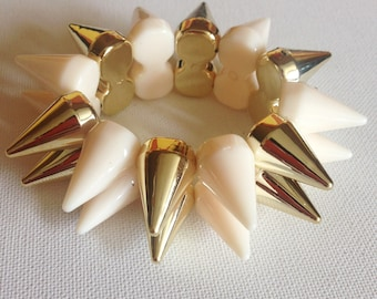 Bracelet  - funky punk cream and gold coloured plastic cone spikes in a double layer highly unusual different design