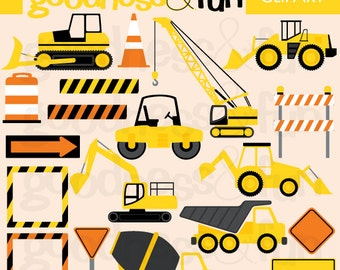 Buy 2, Get 1 FREE - Construction Time Construction Truck Clipart - Digital Construction Truck Clipart - Instant Download