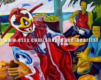 El Baile del Vejigante Acrylic on Canvas Original Painting -Puerto Rico Art- Puerto Rican Artist- Carnival Wall Art
