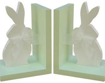 Wooden Rabbit Bookends - Mint Rabbit Bookends - Bunny Bookends